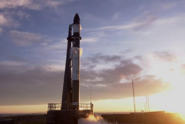 Rocket Lab's Electron rocket on the launchpad - Faraday 1 satellite launch July 2021 - In-Space Missions