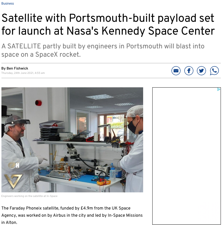 Faraday Pheonix features in Portsmouth Newsr 24th June 2021