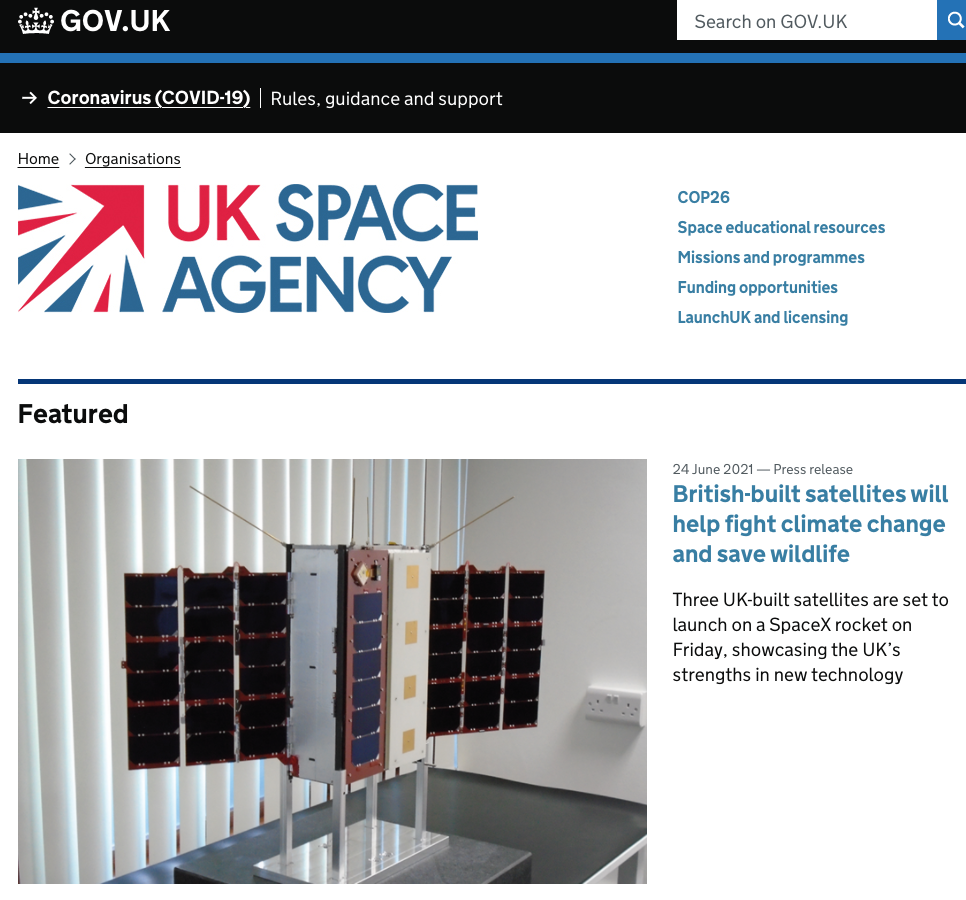 Faraday Pheonix features ion Gov.uk - UK Space Agency 24th June 2021
